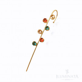 Brinco Ear Pin Zircônia Colorida